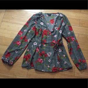 City Chic Sloane Floral Wrap Blouse